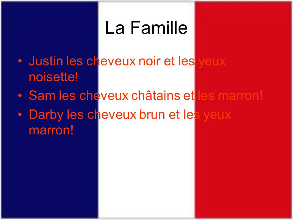 La Famille Justin les cheveux noir et les yeux noisette!