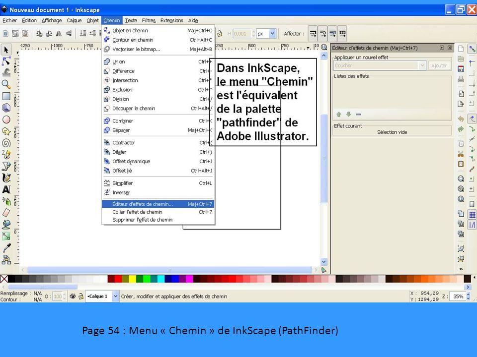 Page 54 : Menu « Chemin » de InkScape (PathFinder)