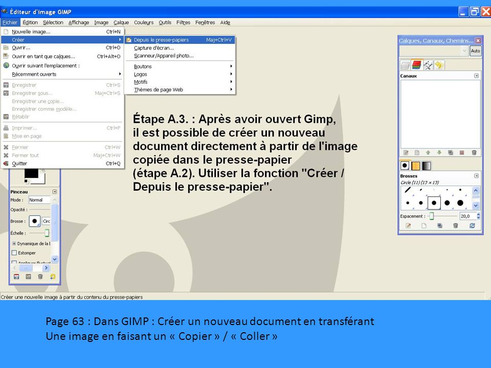 Page 63 : Dans GIMP : Créer un nouveau document en transférant