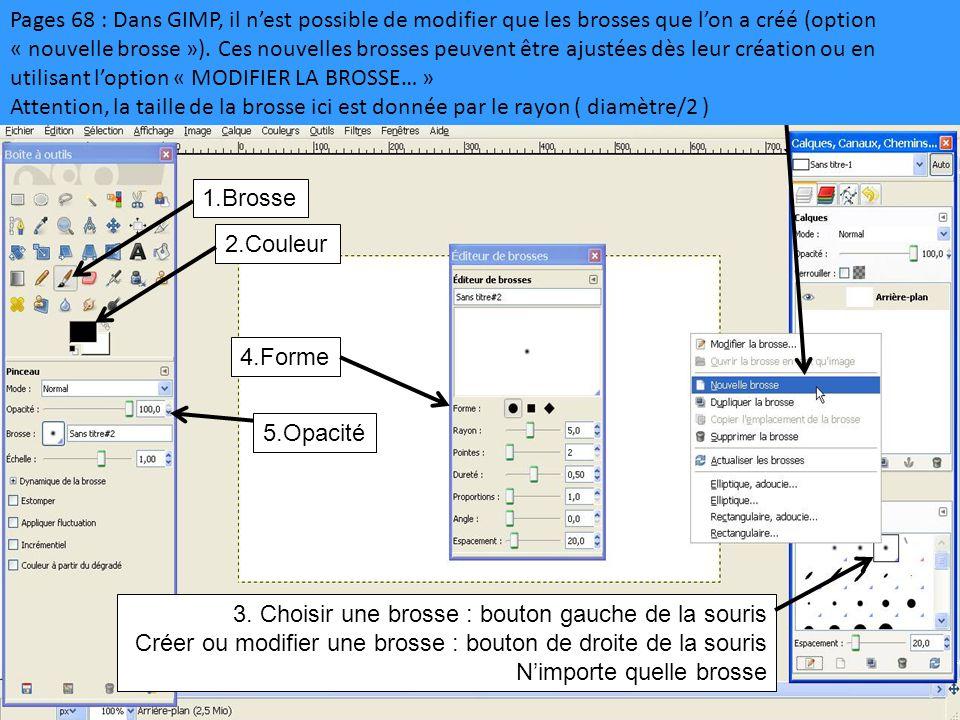 Pages 68 : Dans GIMP, il n'est possible de modifier que les brosses que l'on a créé (option « nouvelle brosse »). Ces nouvelles brosses peuvent être ajustées dès leur création ou en utilisant l'option « MODIFIER LA BROSSE… »
