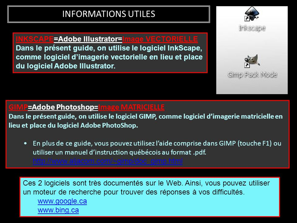 INFORMATIONS UTILES GIMP=Adobe Photoshop=Image MATRICIELLE