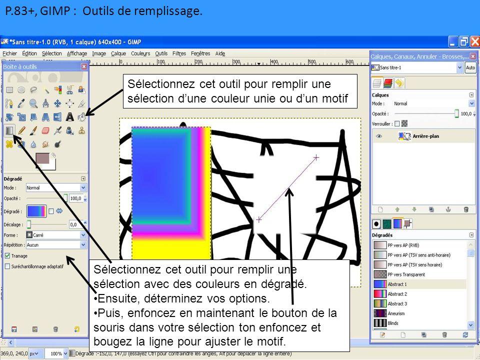 P.83+, GIMP : Outils de remplissage.
