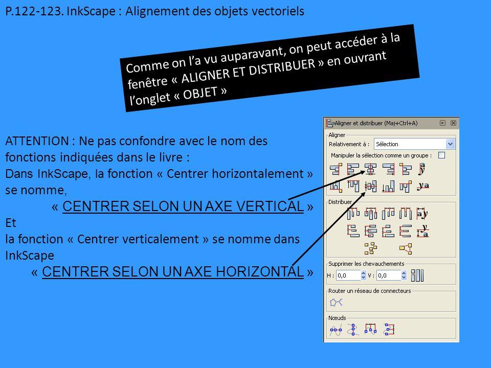 P.122-123. InkScape : Alignement des objets vectoriels