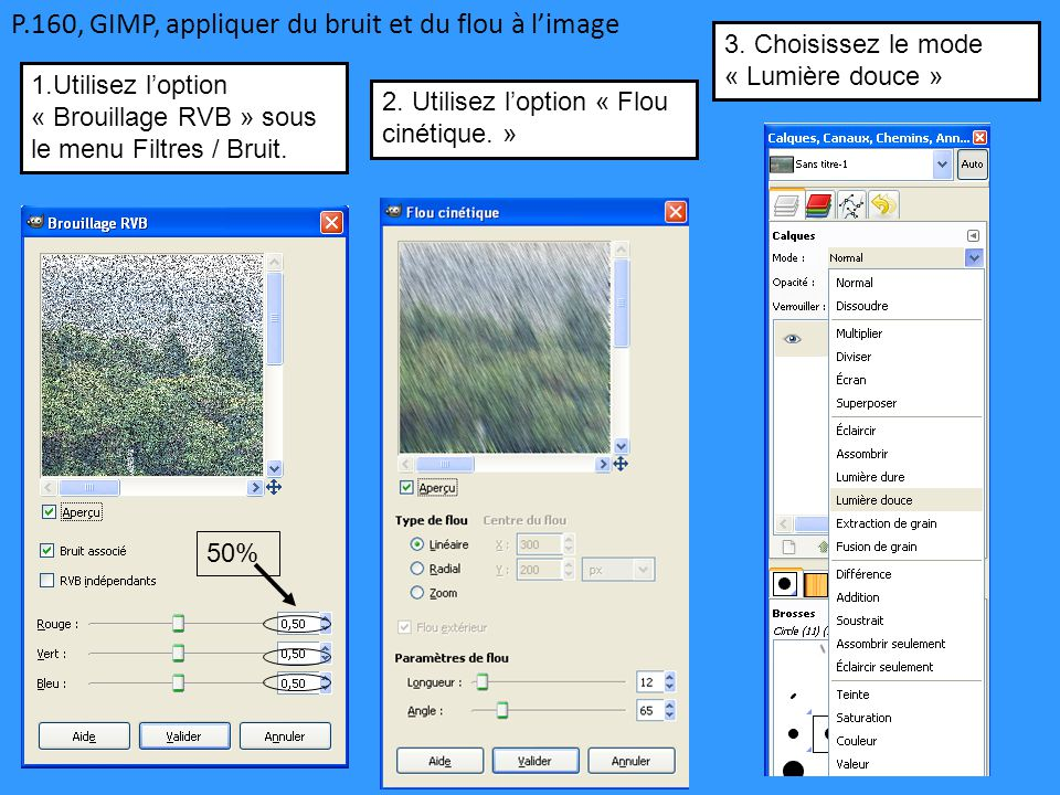 P.160, GIMP, appliquer du bruit et du flou à l'image