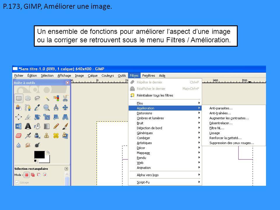 P.173, GIMP, Améliorer une image.