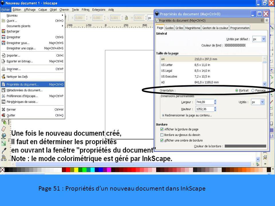 Page 51 : Propriétés d'un nouveau document dans InkScape