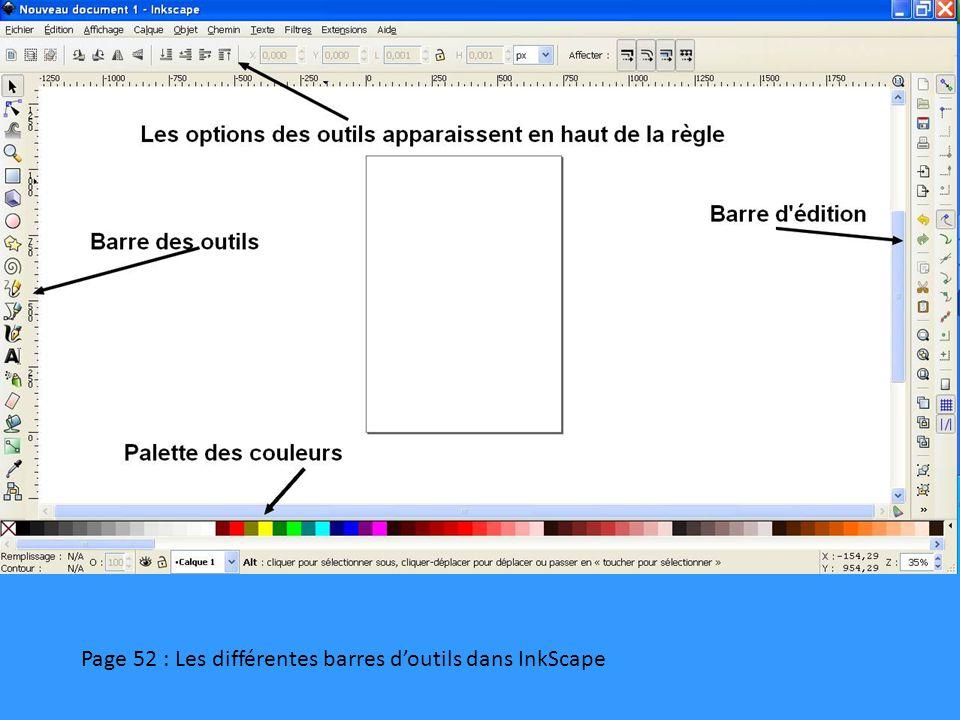 Page 52 : Les différentes barres d'outils dans InkScape