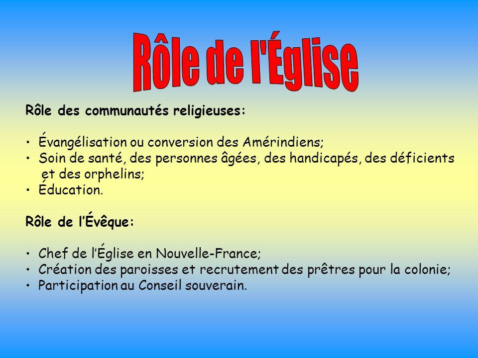 Rôle de l Église Rôle des communautés religieuses: