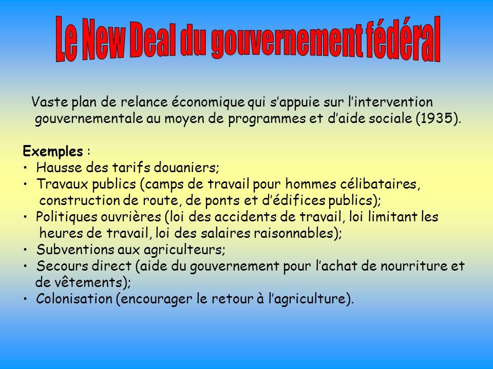 Le New Deal du gouvernement fédéral