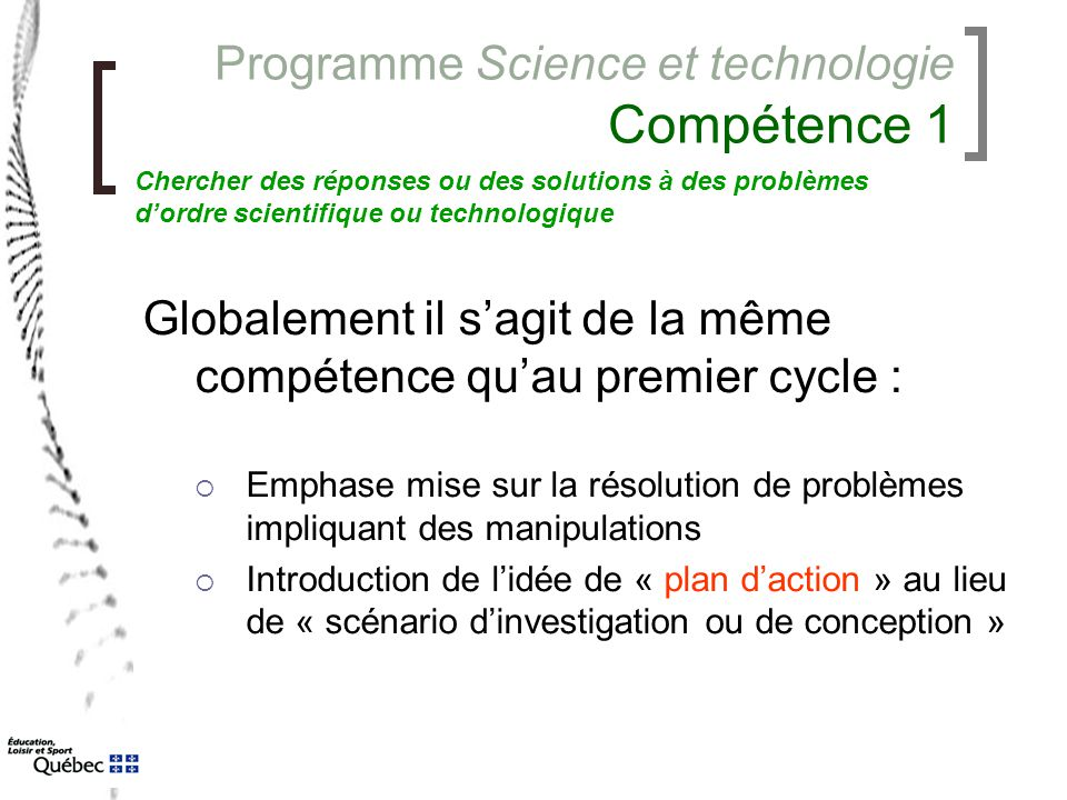 Programme Science et technologie Compétence 1