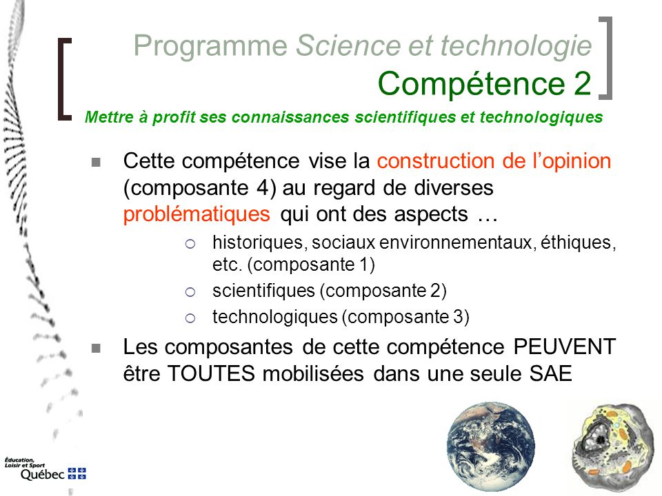 Programme Science et technologie Compétence 2