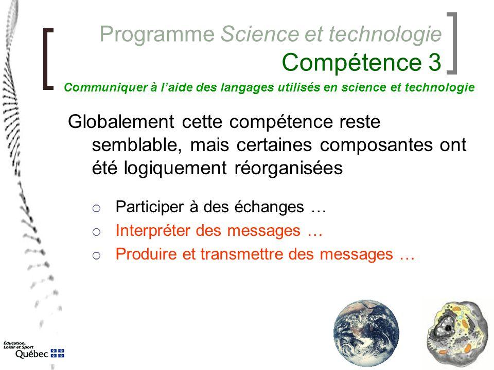 Programme Science et technologie Compétence 3