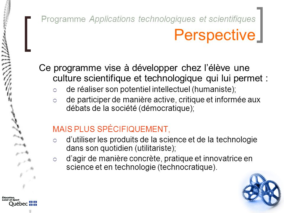 Programme Applications technologiques et scientifiques Perspective