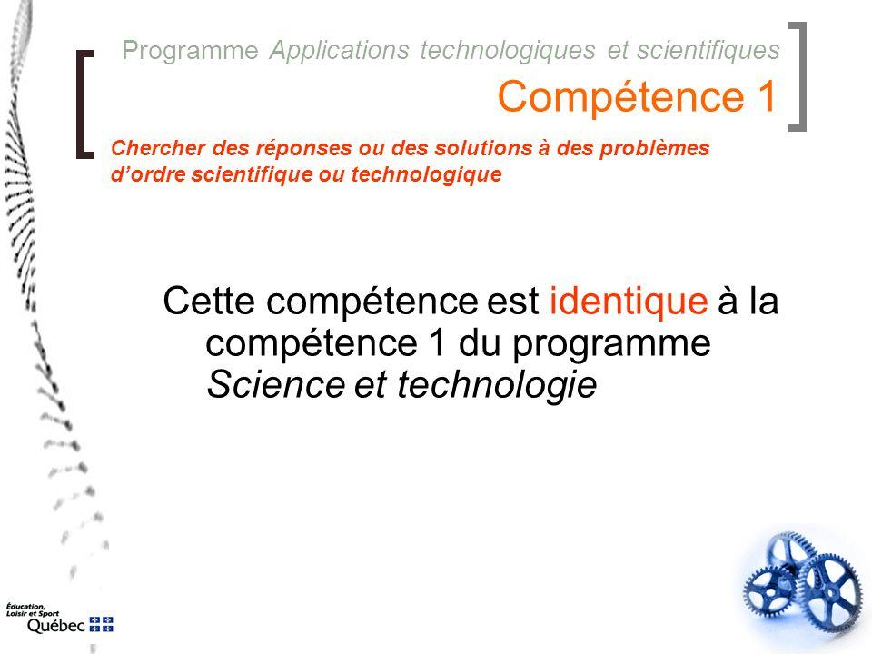 Programme Applications technologiques et scientifiques Compétence 1