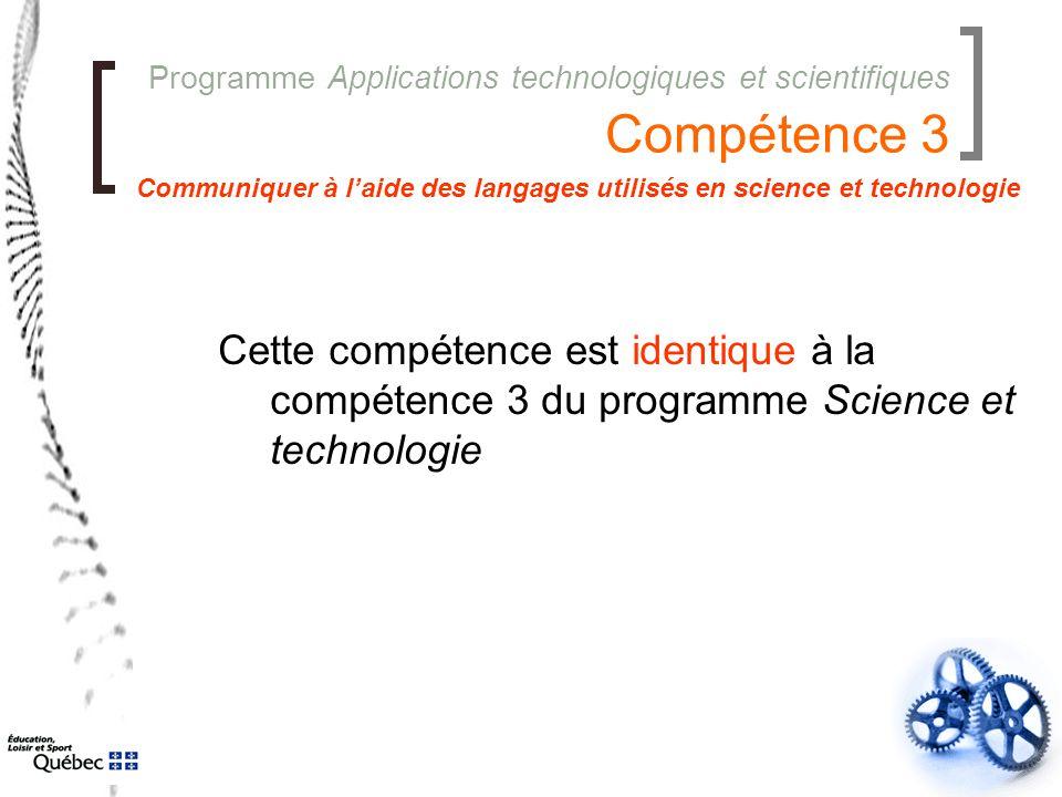Programme Applications technologiques et scientifiques Compétence 3