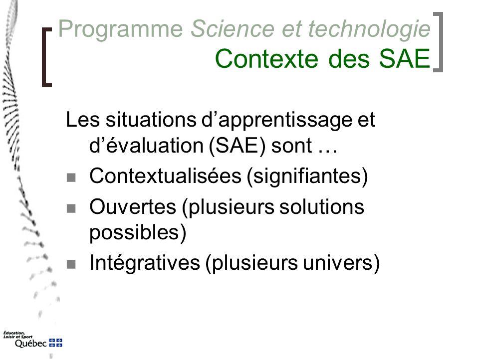 Programme Science et technologie Contexte des SAE