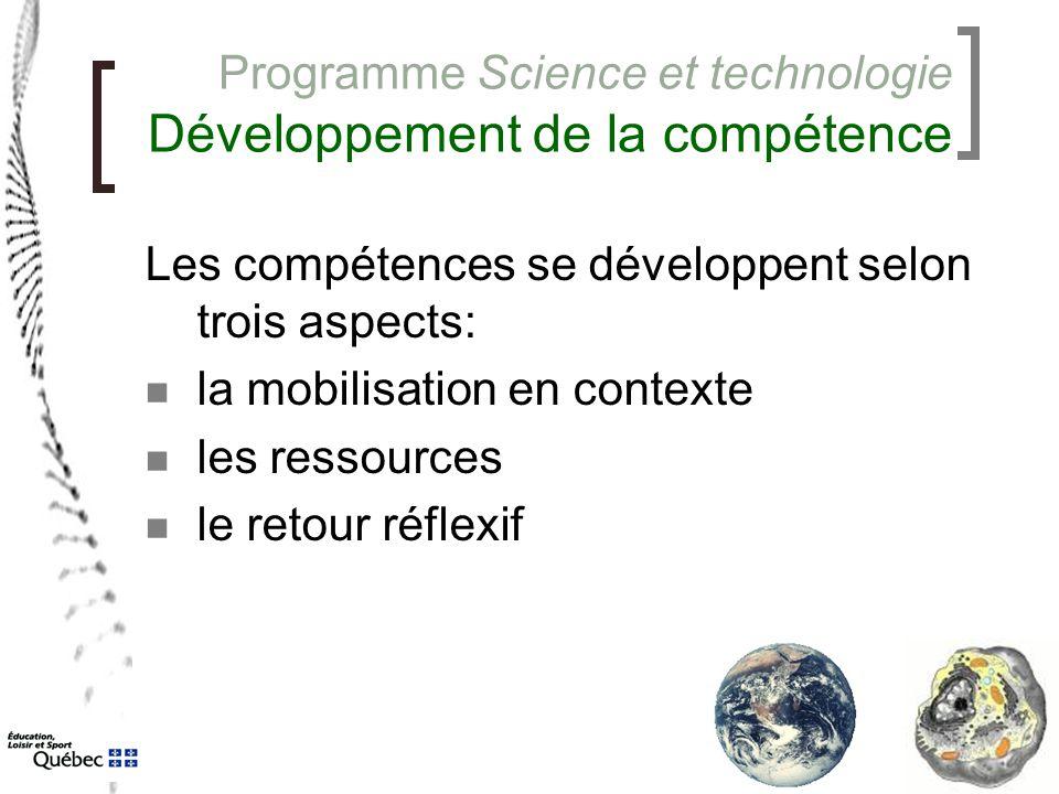 Programme Science et technologie Développement de la compétence