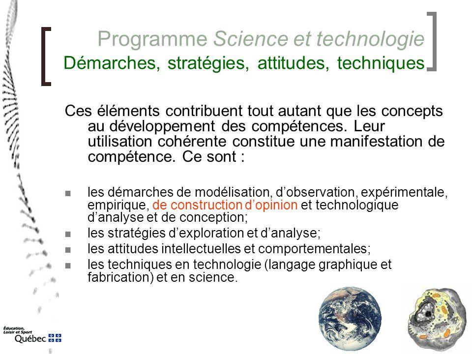 Programme Science et technologie Démarches, stratégies, attitudes, techniques