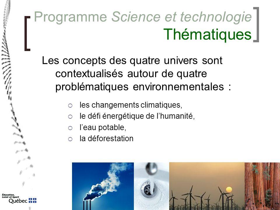 Programme Science et technologie Thématiques