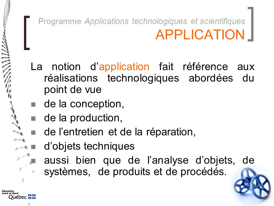Programme Applications technologiques et scientifiques APPLICATION