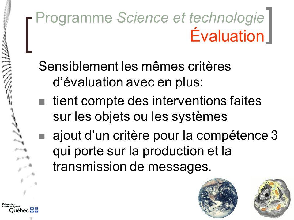 Programme Science et technologie Évaluation