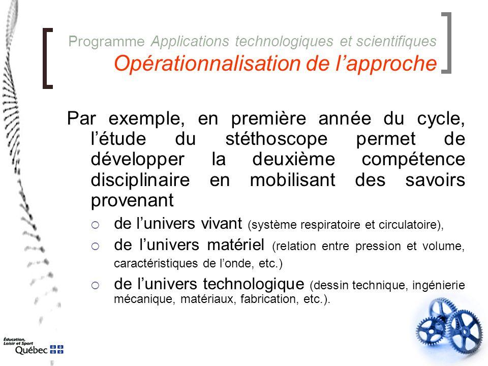 Programme Applications technologiques et scientifiques Opérationnalisation de l'approche