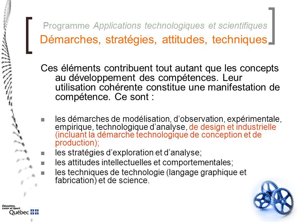 Programme Applications technologiques et scientifiques Démarches, stratégies, attitudes, techniques