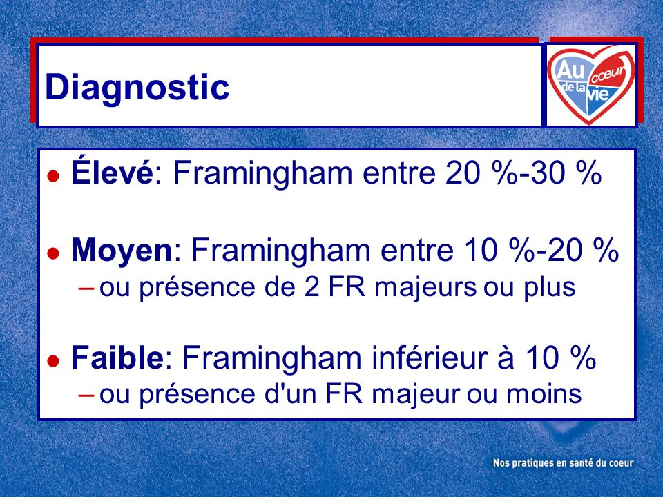 Diagnostic Élevé: Framingham entre 20 %-30 %