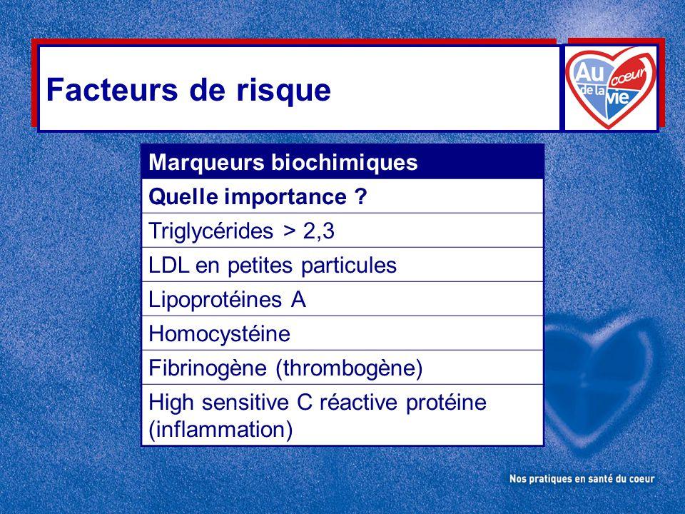 Facteurs de risque Marqueurs biochimiques Quelle importance