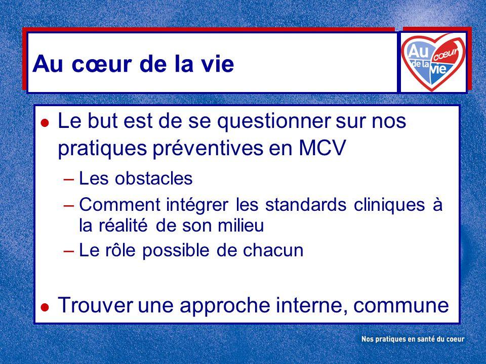 Au cœur de la vie Le but est de se questionner sur nos pratiques préventives en MCV. Les obstacles.