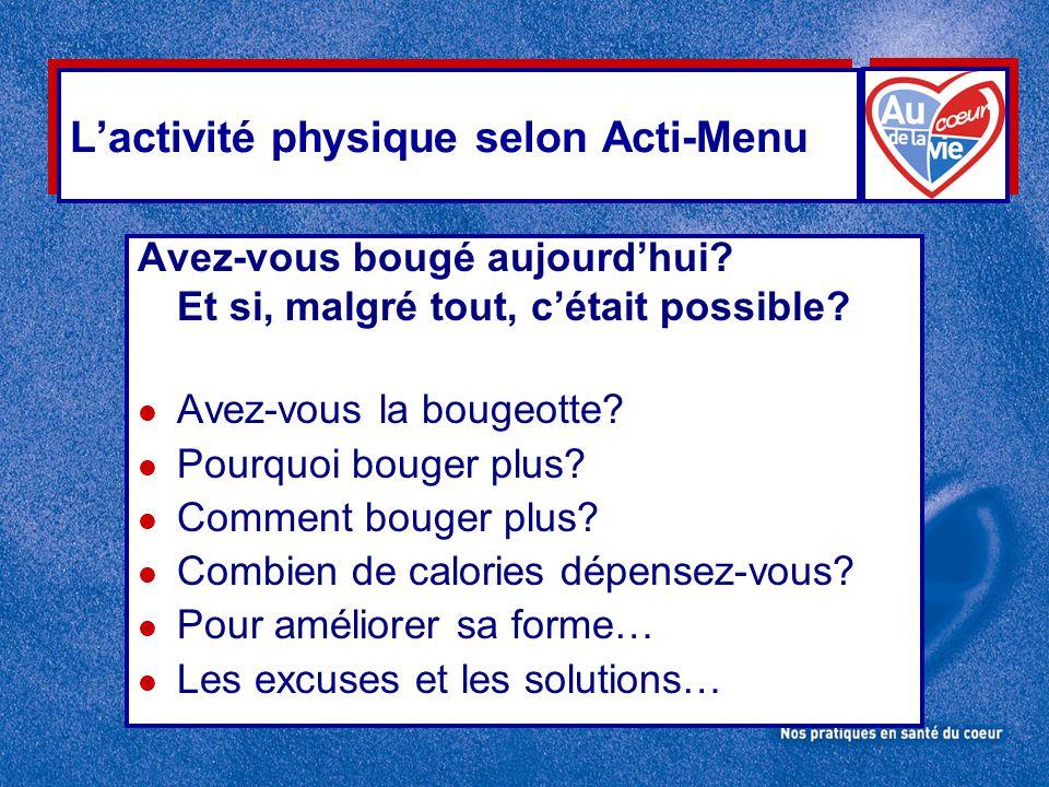 L'activité physique selon Acti-Menu