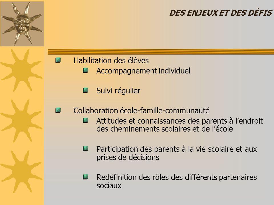 DES ENJEUX ET DES DÉFIS Habilitation des élèves. Accompagnement individuel. Suivi régulier. Collaboration école-famille-communauté.