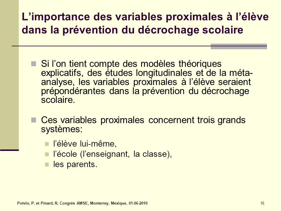 L'importance des variables proximales à l'élève dans la prévention du décrochage scolaire