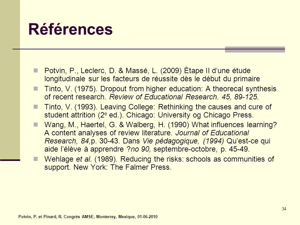 Références Potvin, P., Leclerc, D. & Massé, L. (2009) Étape II d'une étude longitudinale sur les facteurs de réussite dès le début du primaire.