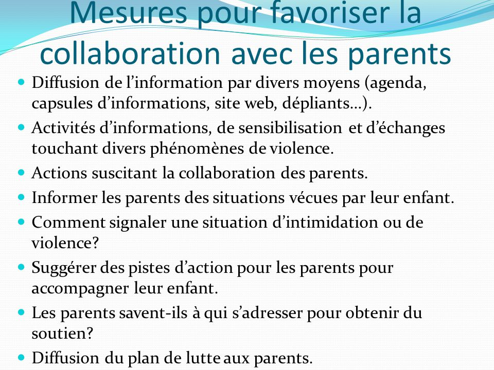 Mesures pour favoriser la collaboration avec les parents