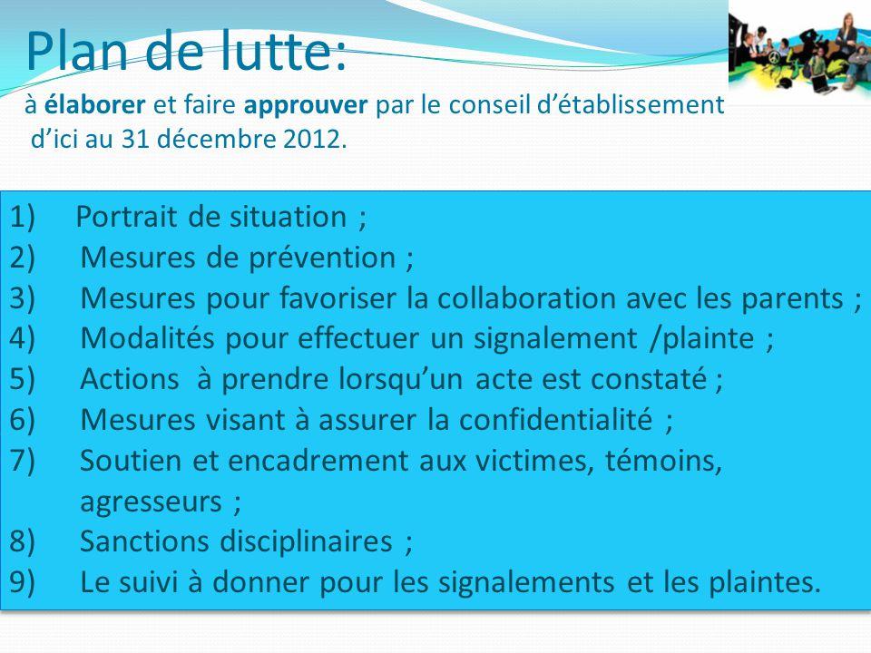 Plan de lutte: à élaborer et faire approuver par le conseil d'établissement d'ici au 31 décembre 2012.