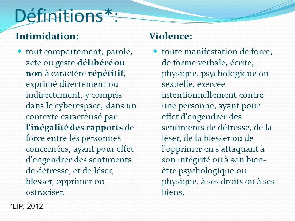 Définitions*: Intimidation: Violence: