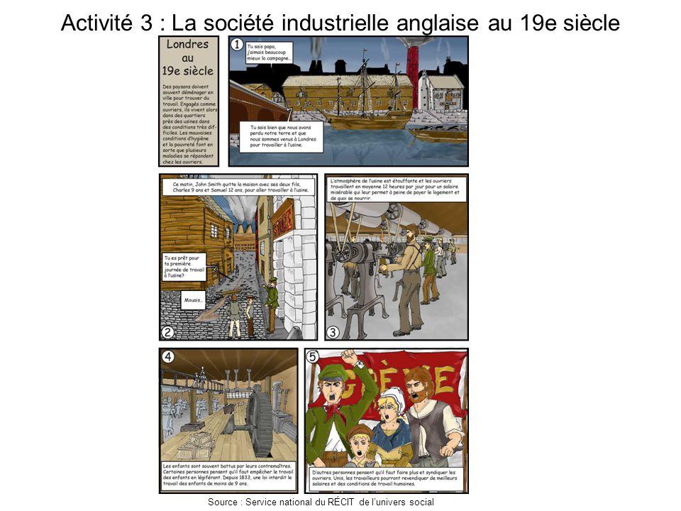 Activité 3 : La société industrielle anglaise au 19e siècle