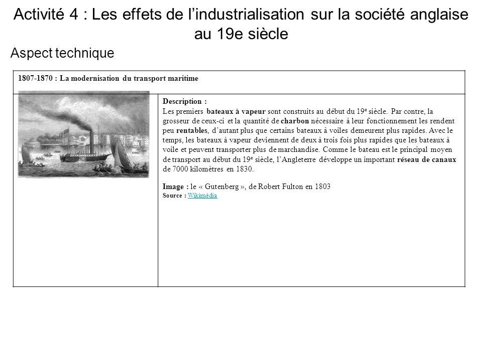 Activité 4 : Les effets de l'industrialisation sur la société anglaise au 19e siècle