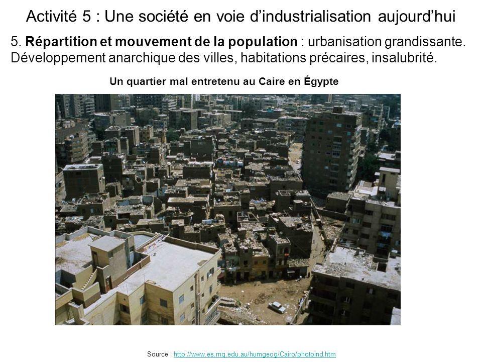 Activité 5 : Une société en voie d'industrialisation aujourd'hui