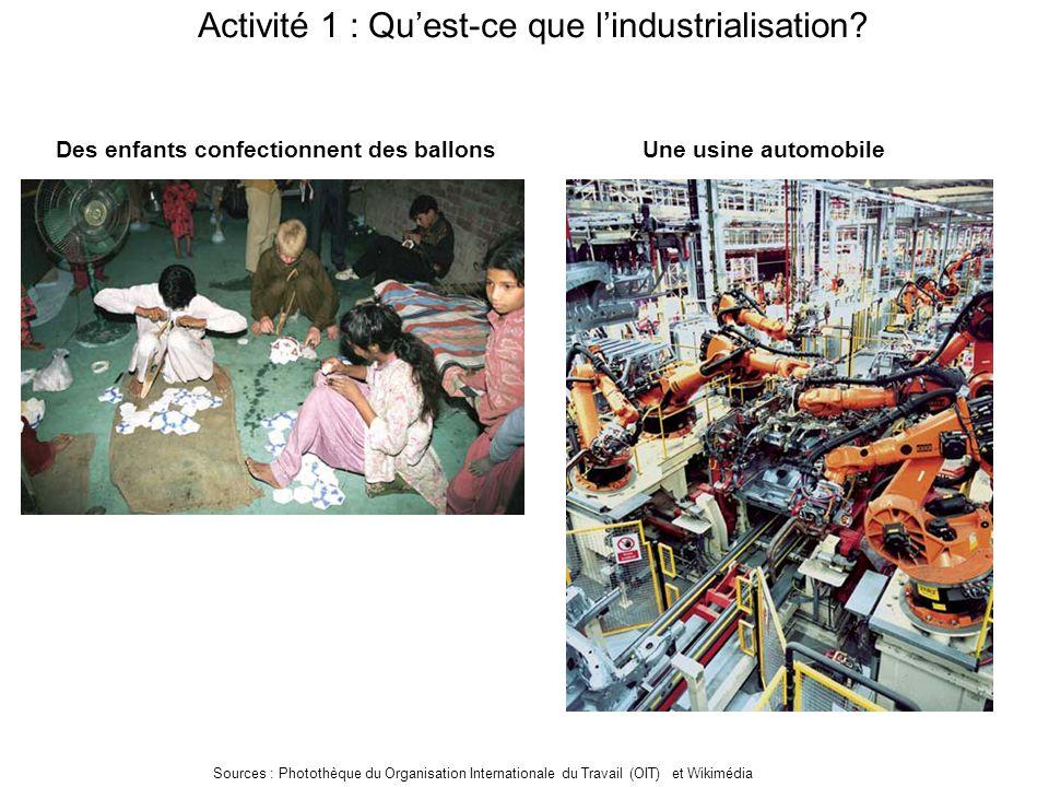 Activité 1 : Qu'est-ce que l'industrialisation