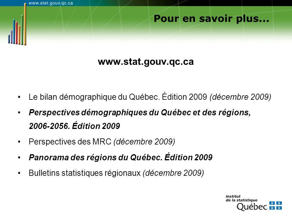 Pour en savoir plus... www.stat.gouv.qc.ca