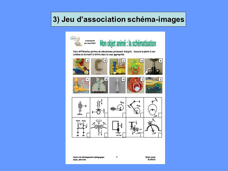 3) Jeu d'association schéma-images