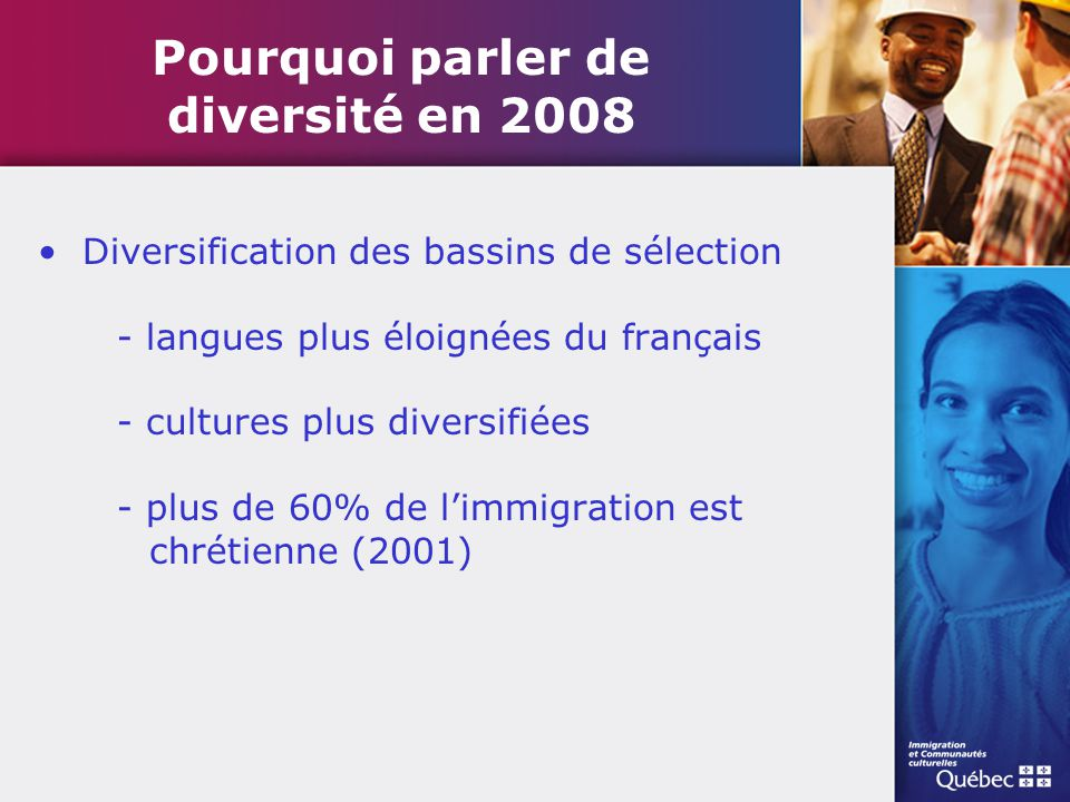 Pourquoi parler de diversité en 2008