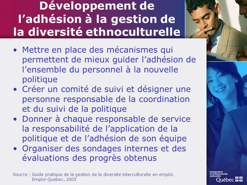 Développement de l'adhésion à la gestion de la diversité ethnoculturelle
