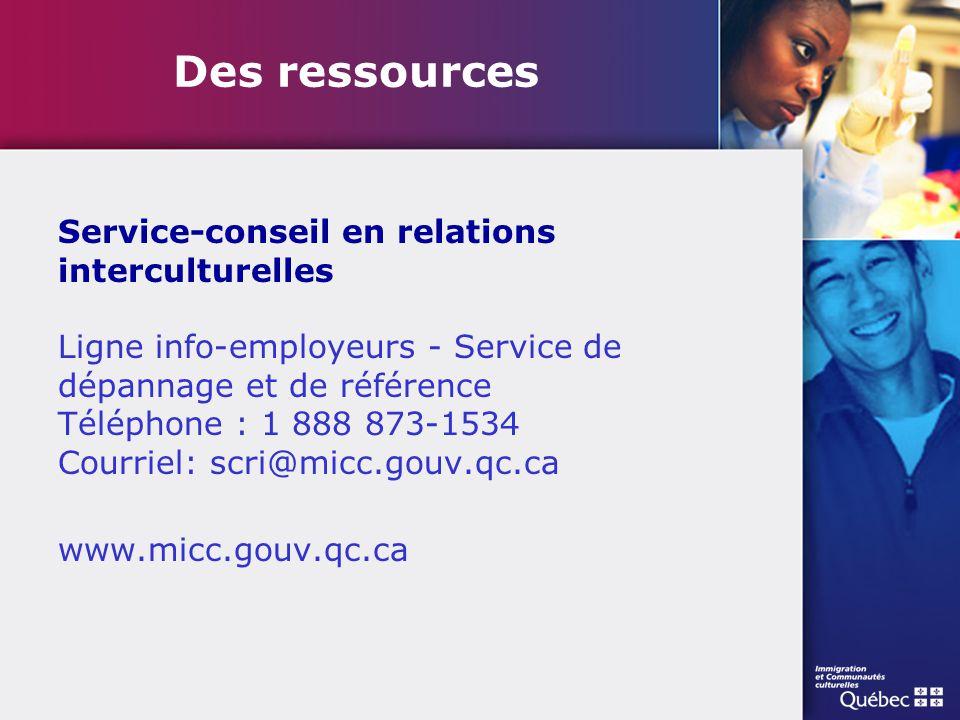 Des ressources Service-conseil en relations interculturelles