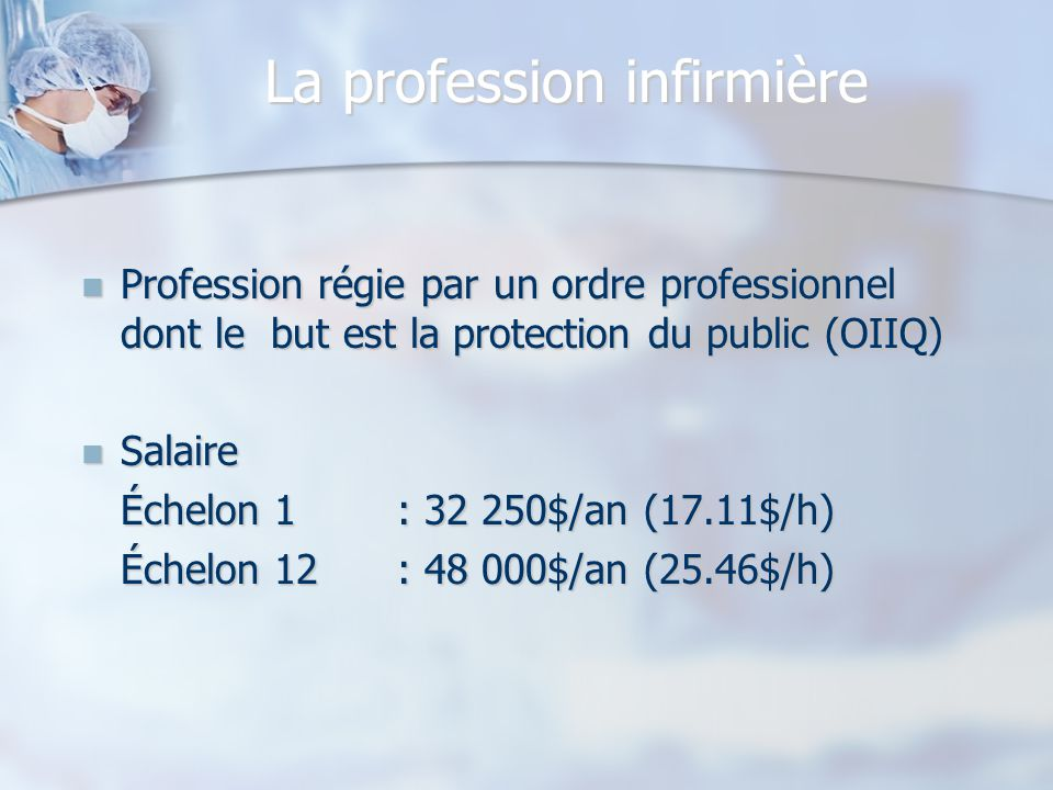La profession infirmière
