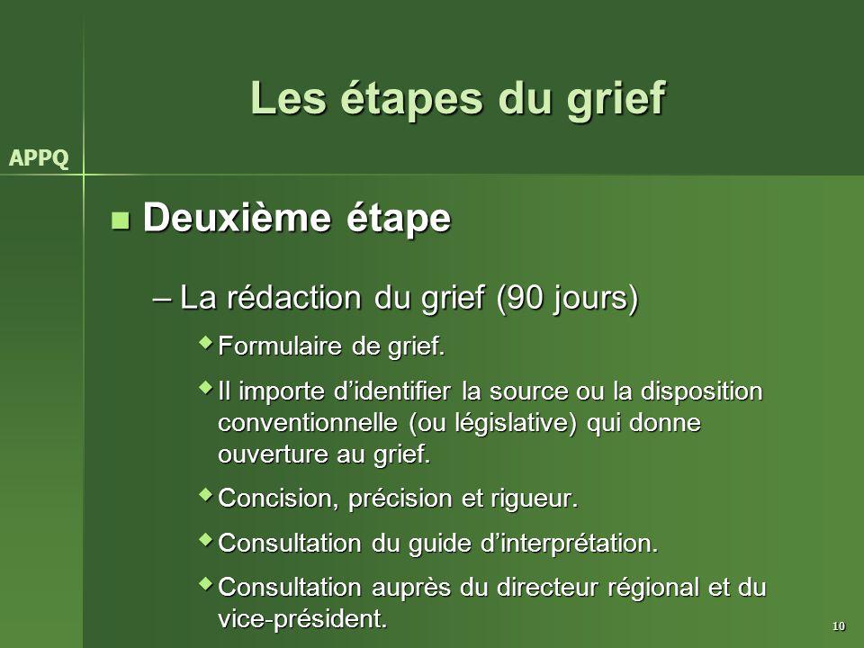 Les étapes du grief Deuxième étape La rédaction du grief (90 jours)