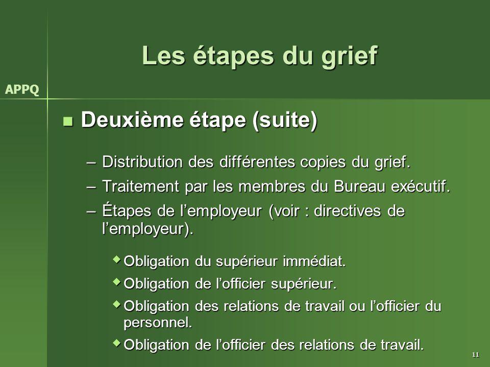 Les étapes du grief Deuxième étape (suite)