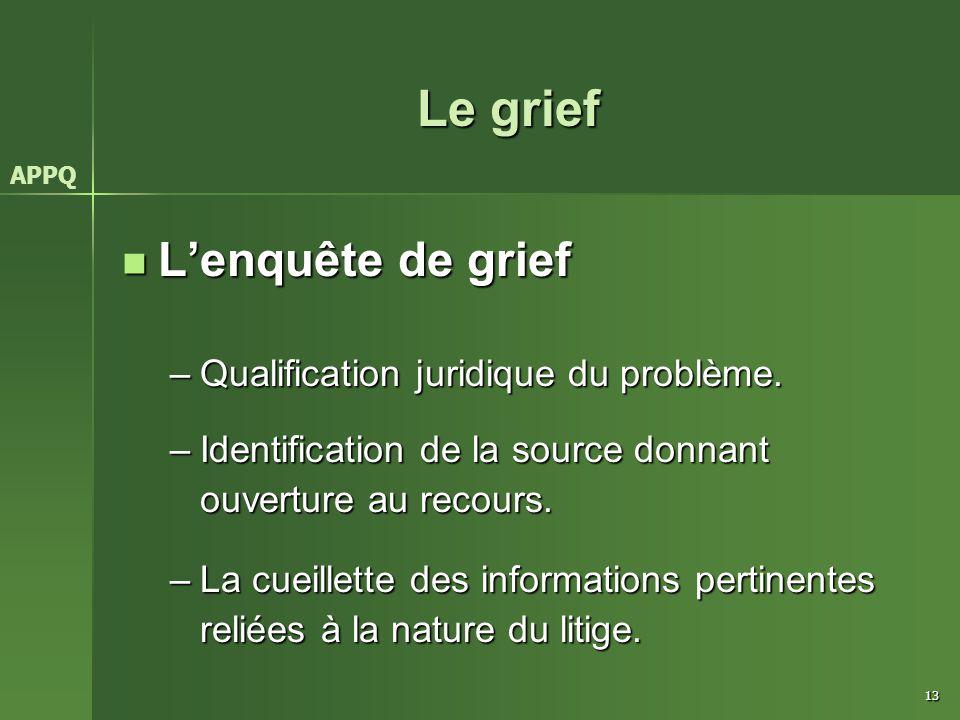 Le grief L'enquête de grief Qualification juridique du problème.